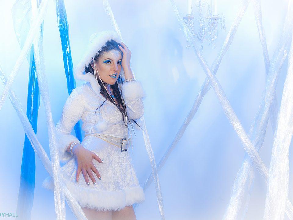 Adult female model in stdio ice cave