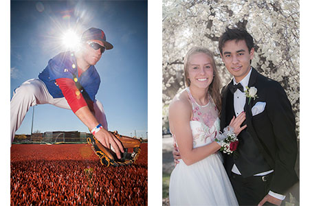 young male baseball player catching a grounder, prom couple posed in front of tree with white blossoms.