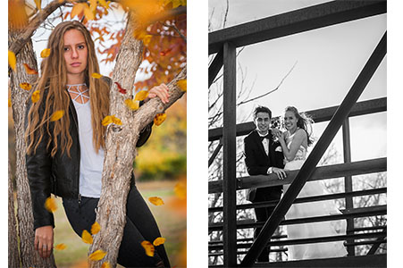 Black and white image of prom couple, young female leaning against tree with fall leaves