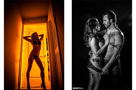 Slender woman in yellow lit doorway, a couple holding each other in black and white