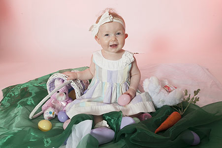 baby taking Easter photos
