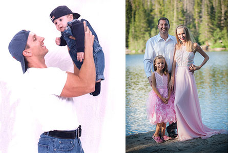 Dad holding son up in his arms and family of three posing by the lake