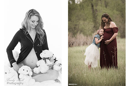 Pregnant mom with stuffed animal, pregnant mom with daughter
