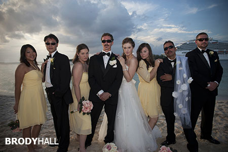 Bridal Party on the beach in the Bahamas