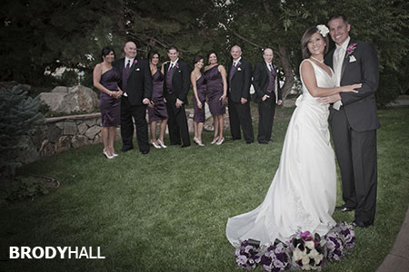 Bridal party standing behind the bride and groom at The Chateaux at Fox Meadows