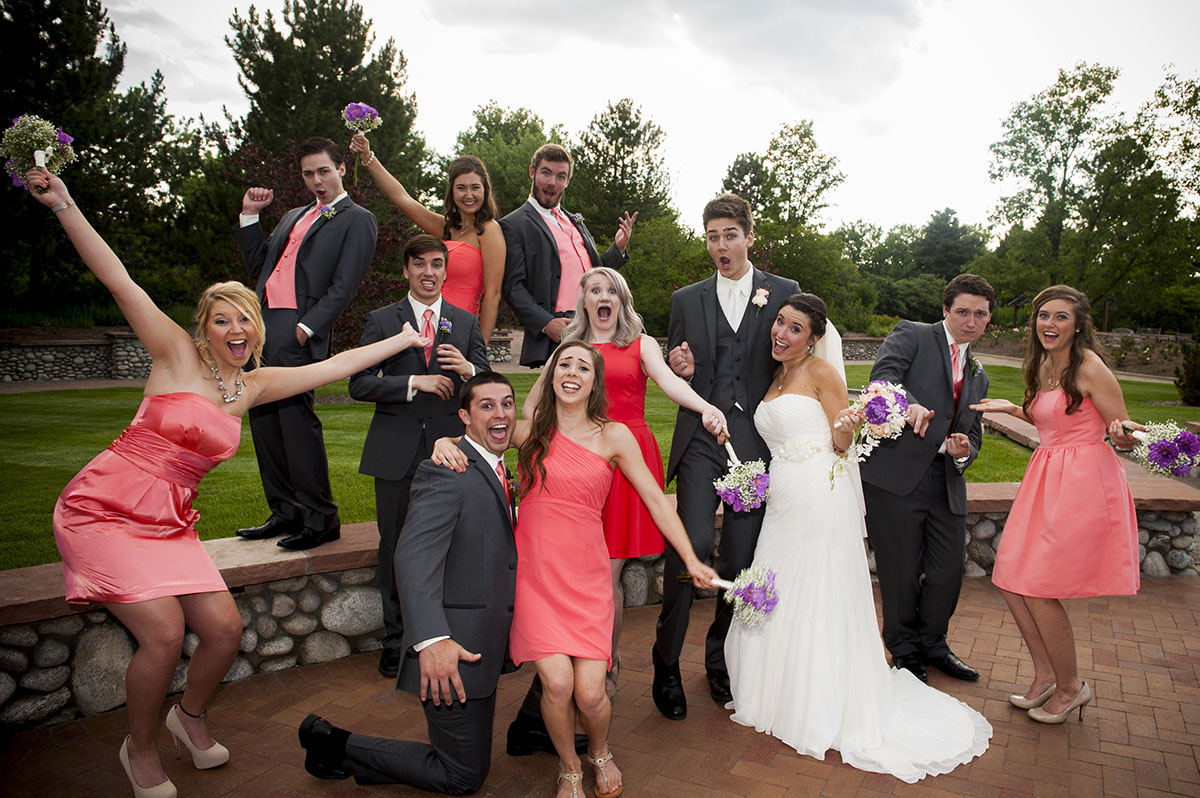 Bridal Party laughing and smiling at Hudson Gardens, Littleton, CO