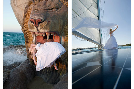 Bride in wedding gown laying in lion statue's mouth, Nygard Cay, New Providence, Bahamas,.
