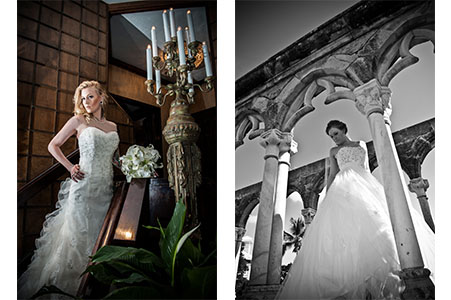 Bride in gown looking down shoulder at the Wilshire Event Center. Bride in gown looking down shoulder at the French Cloisters in the Bahamas