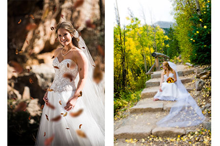 Brides in wedding gowns with fall leaves.