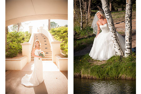 Bride with bouquet standing in front of a curving stair case. Bride in wedding gown by an aspen tree looking out over a lake.
