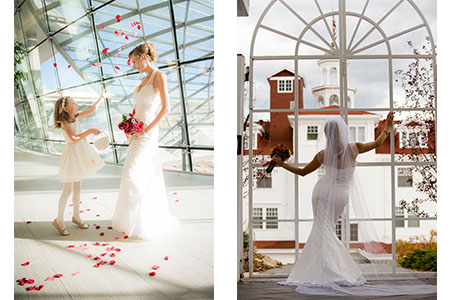 Bride and flower girl at the Westin Hotel at Denver International Airport. Bride in wedding gown looking at the Stanley Hotel.