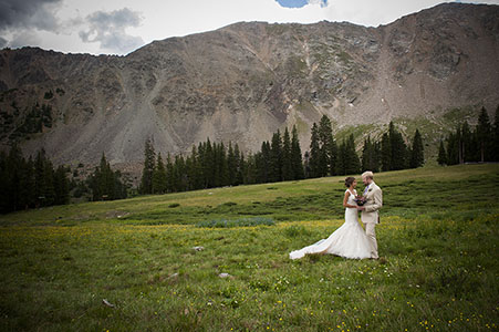 Bride and groom at A Basin Ski Resort