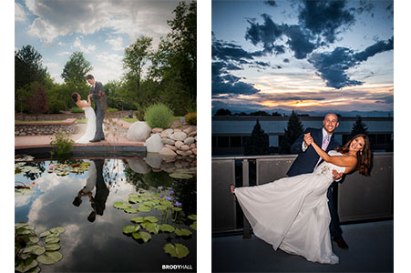Bride and groom at Hudson Gardens in Littleton, CO