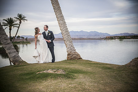 Bride and groom at Reflection Bay Golf Club - Lake Las Vegas
