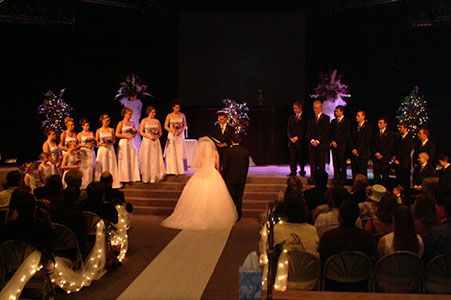 Large wedding ceremony at New Life Church in Colorado Springs, CO