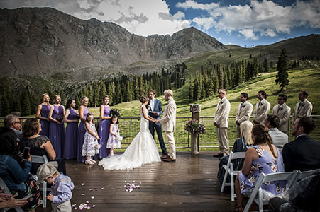 Wedding ceremony at Arapaho Basin in Breckenridge, CO