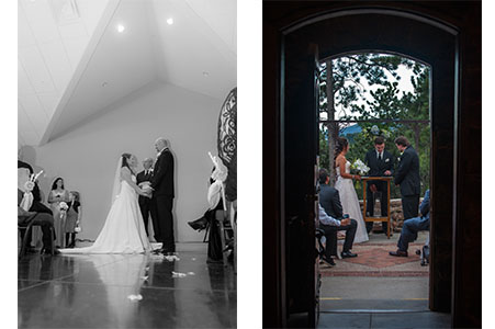Wedding ceremony at Beottcher Mansion in CO