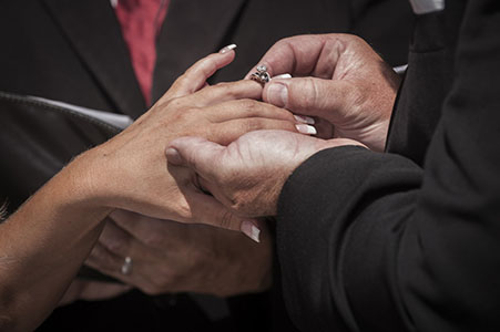 Ring ceremony at a wedding in upstate New York.