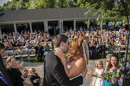 Wedding ceremony kiss at Ralstons Crossings, Arvada, CO