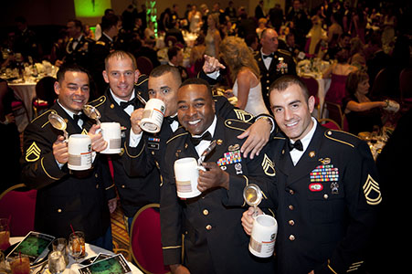 Five adult male soldiers in dress blues drinking, attendind the 60th Anniversary of the United States Army Special Forces Ball, at the Broadmoor in Colorado Springs, CO.