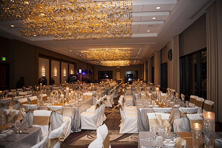 Marriott banquet room set up before a MPC Corporate Christmas party.