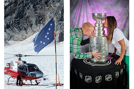 Alaskan flag in front of helicopter at a corporate event, male and female kissing the Stanley Cup at an event.