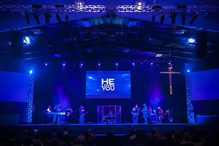 A church in Colorado Springs with a new lighting system.