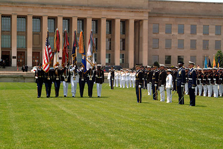 United States Honor Guard in front of the Pentagon during a medal presentation ceremony in Arlington, VA