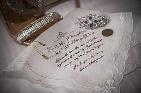 Bridal handkerchief with penny and brooch