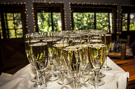 Tray of champagne for wedding reception at the Briarhurst Manor in Manitou Springs, CO