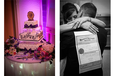 Wedding cake lit by purple light and wedding couple hugging with the marriage license.