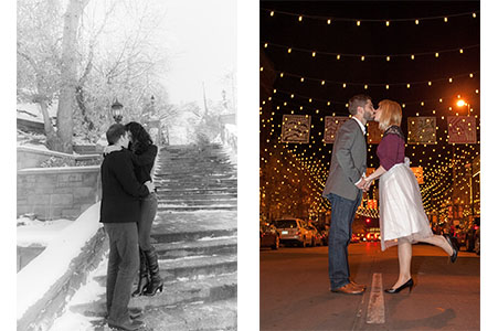 Engaged couple kissing downtown Denver at Larimer Square