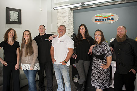 Corporate group shot for Back in a Flash chiropractic.