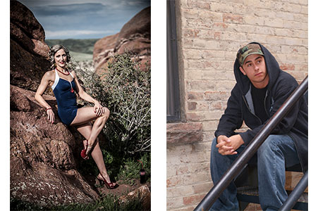 adult female in old fashion blue swimsuit leaning against rock in Red Rocks Park, CO