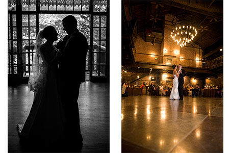 Bridal couple dancing at Mile High Station in Denver, CO
