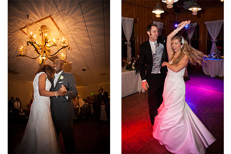 Bridal couple dancing up at YMCA of the Rockies in Estes Park, CO