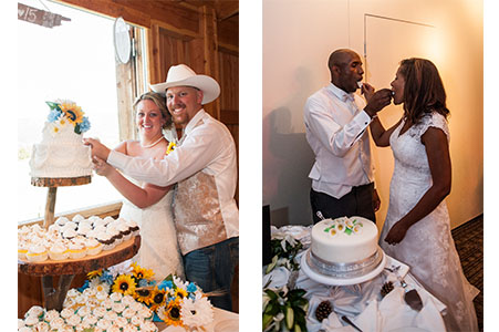 Wedding couple cutting and eating cake at Casey's Barn in Woodland Park, CO