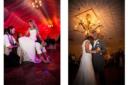 Groom taking of Bride's carter at Wilshire Event Center in Denver, Wedding couple dancing