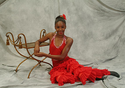 Dance school student posing for her individual portrait