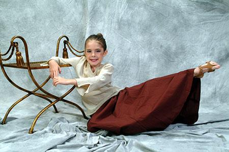 Dance school student posing for her portrait