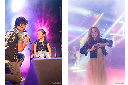 Singer serenading a young girl