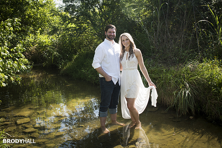 Engaged couple in the creek just outside of Nashville