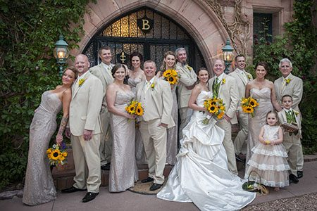 Bridal party posing by the Briarhurst in Colorado Springs