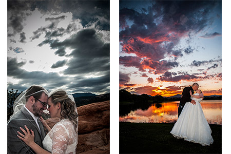 Bride & Groom sunset photo