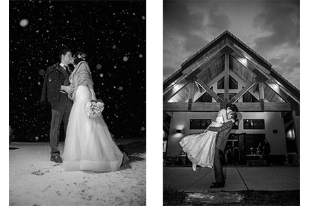 Bride & Groom in the dark while it's snowing