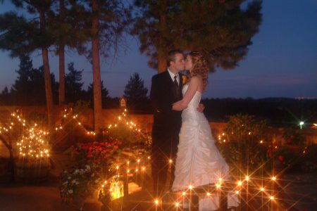 Bride & Groom in the evening with candles