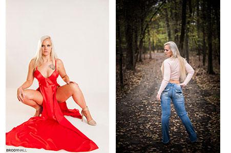 Model in red dress in studio