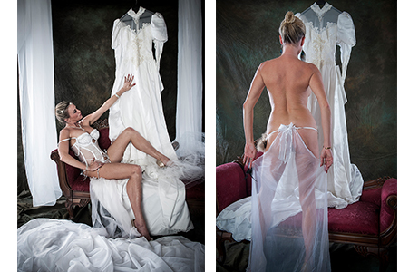 Emily in wedding lingerie looking at wedding gown