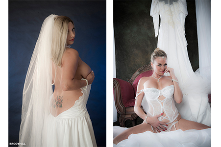 Duel image, Kara covering breast in lowered wedding gown, Emily on knees in wedding lingerie