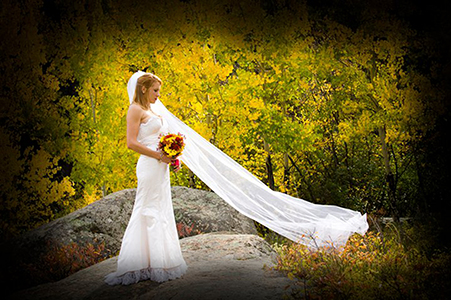 Jessic in bridal gown in RMNP